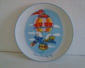 Smurf Collectable Porcelain Plate - 1982 - Wallace Berrie Co - Smurfette - Hot Air Baloon - Vintage Toys - Wall Decor - Decorative Plate
