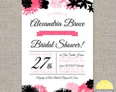 bridal shower invitation - modern florals - DIY printable file by YellowBrickStudio