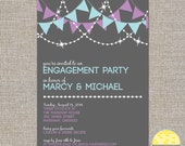 engagement stock the bar party invitation - banners and lights - DIY printable by YellowBrickStudio