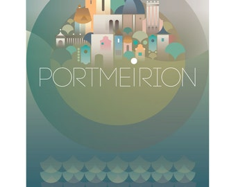 Portmeirion - Large Digital print. 260 x 460 mm