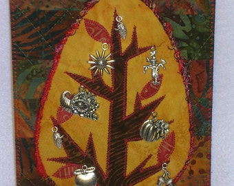 Autumn Tree Large Postcard FALL TREE Charm Birthday Her Him Friend Gift Thank You Housewarming Hi Frame Easel Art Quilt Fabric Appliqued 5x7