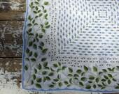 Vintage Handkerchief Wedding Handkerchief Bridal Handkerchief Hankie Blue and Green Floral Handkerchief