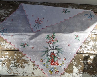 Vintage Christmas Handkerchief Poodle Hankie for the Holidays