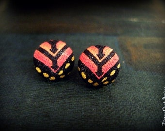 Tribal Studs, Coral & Gold Fabric Button Earrings,Tribal Jewelry, Fabric Button Earrings, Fabric Jewelry,Tribal Studs, Textile Earrings
