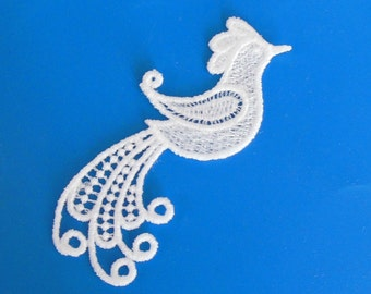 Lace Applique for Crafts or Crazy Quilt - BIrd with swirling feathers II