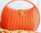 Bright Orange Mod Basket Purse - normajeanscloset