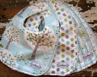 Baby Bibs - Set of 3 - Backyard Baby in Windy Day, Dots, Birch Tree
