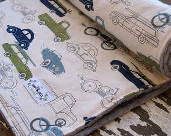 Baby Boy - Retro Rides in Navy, Olive & Grey - Minky Baby Blanket in Cars and Trucks
