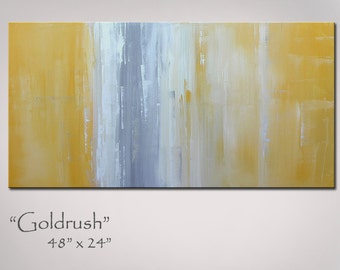Abstract Painting Yellow and Gray, 48x24, Abstract Art Yellow and Grey