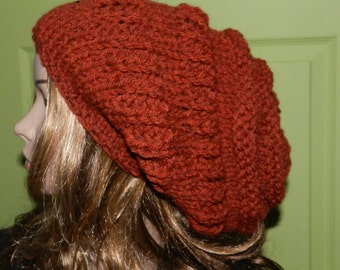 Hand Knitted Chunky Slouchy Beanie,  Boho Hat, Teen/Women Hipster Hat, Trendy Slouchy Hat in Spicy Pepper