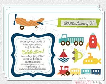 Transportation Party Invitation, Planes, Trains and Automobiles Invitation - 5x7 Printable