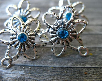 6 pairs Silver Post Earrings with Blue Crystals and Connector Loops 21mm x15mm Matching Backs
