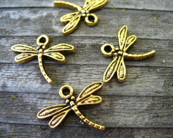 10 Antiqued Gold Dragonfly Charms 18mm