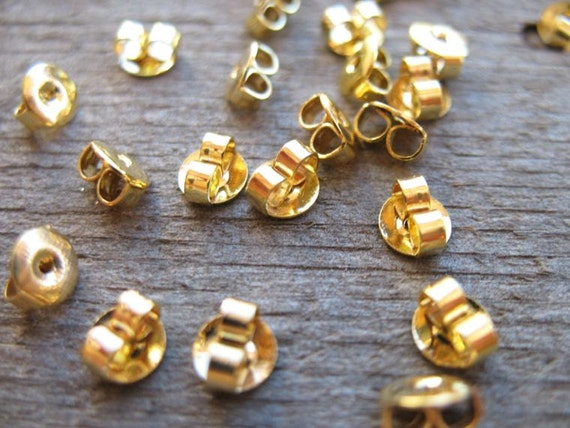 100 pairs Gold Earring Backs 5mm Nickel Free