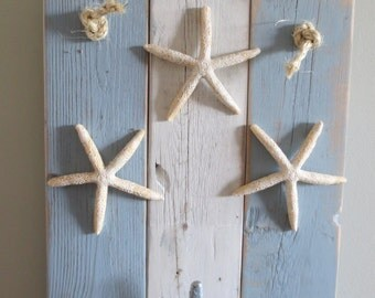 Starfish Wall Hanging Coat Hooks light blue and white nautical wall hanging boat cleat recycled beach decor starfish wall hanging upcycled