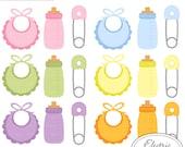 Baby Bibs, Bottles, and Safety Pins - Set 1 - pink, blue, purple, green, yellow, orange bib, bottle, safety pin