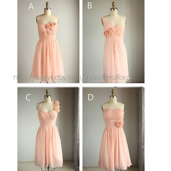 2016 Mix And Match Short Peach Bridesmaid Dress Short By