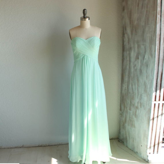 Mint bridesmaid dress wedding dress chiffon dress by renzrags for Mint green wedding dress