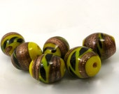 Vintage Yellow Glass Lamp Work Lampwork Beads Gold 8mm by 10mm