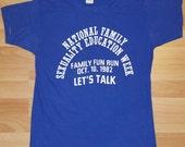 Vintage 1982 National Sexuality Education Family Fun Run T-Shirt LBGT 1980's