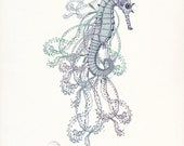 Leafy Sea Dragon Coastal Sea Life Giclee Art Print No. 2 8x10