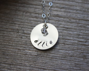 Mother's Day Necklace, Push Present, Personalized Baby Name Jewelry