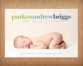 baby girl or boy custom photo birth announcement - bold II