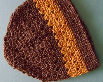 Clearance Brown and Orange Striped Crochet Hat Brown with Orange Crochet Beanie (HAT103 Copper/Bronze)