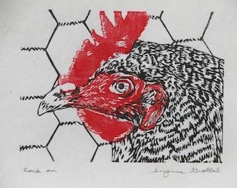 "Barred Rock hen chicken block print - ""Rock on"""