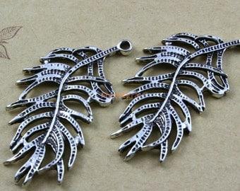 30Pcs Antique Silver Feather Charm Feather Pendant 37x19mm (PND467)