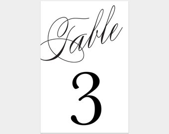 Printable - Calligraphy Table Numbers