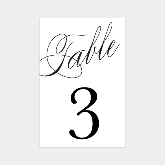 Printable Calligraphy Table Numbers By Fineanddandypaperie