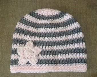 Pale Pink and Gray Star Crochet Hat/Beanie