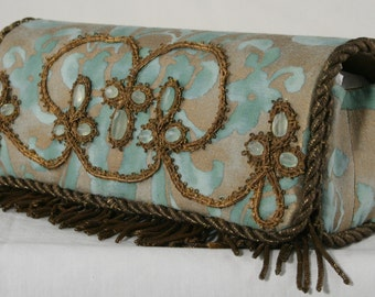 Aqua Fortuny Baguette With Removable Handle/Necklace