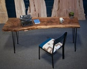 YOUR CUSTOM Live Edge Black Walnut DESK - Natural - Rustic - Modern