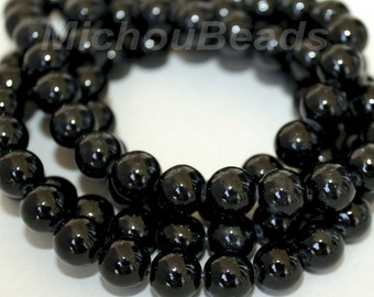 """16"""" Strand - 8mm BLACK Natural RIVERSTONE - Round Opaque Natural River Stone Gemstone - USA Wholesale Gemstone Beads -  Instant Ship - 5301"""