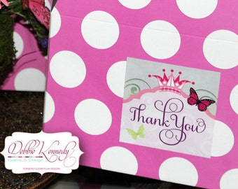 """Princess Garden Printable Birthday 3"""" Thank You Tags - Pink and Purple - DIY Print - Butterfly Party - Instant Download"""
