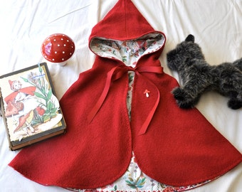 Red boiled wool cape size 2T/3T   4/5 Limited Edition Made to order