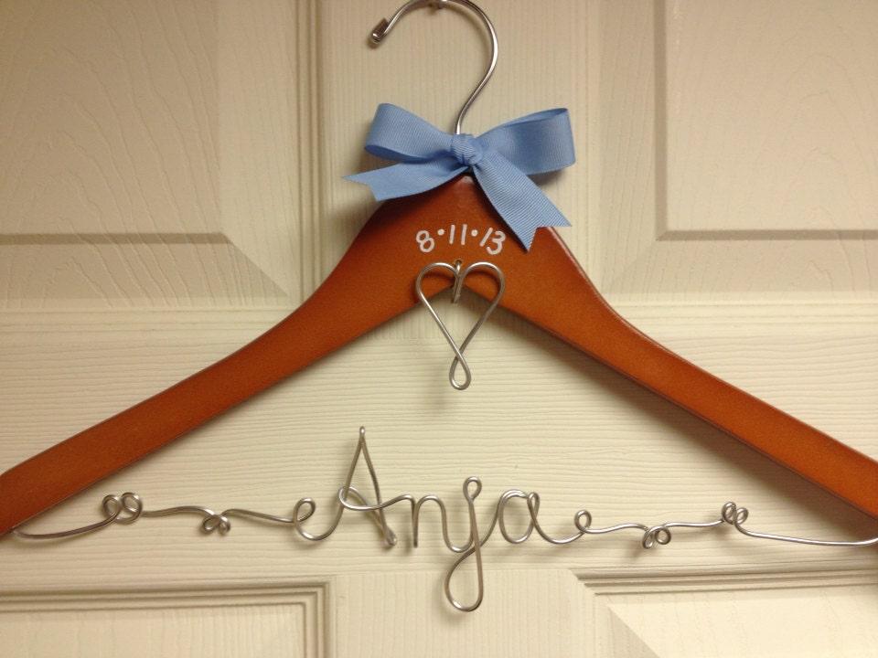 Wedding Hanger Personalized Wire Bridal By UnderTheUmbrellaMom
