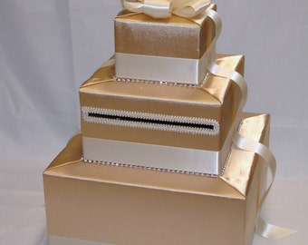 Elegant Wedding Card Box-Gold and Ivory designs