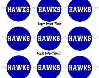 INSTANT DOWNLOAD Blue Hawks School Mascot 1 inch Circle Bottlecap Images 4x6 sheet