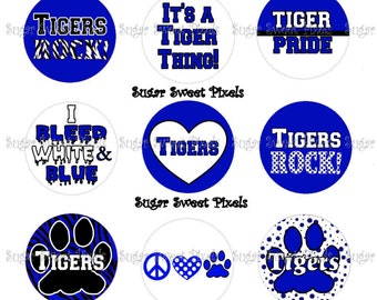 INSTANT DOWNLOAD Tigers Blue School Mascot 1 inch circle bottlecap Images