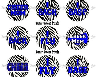 INSTANT DOWNLOAD  Blue  Zebra Cheer  Inspired 1 inch Circle Bottlecap Images 4x6 sheet