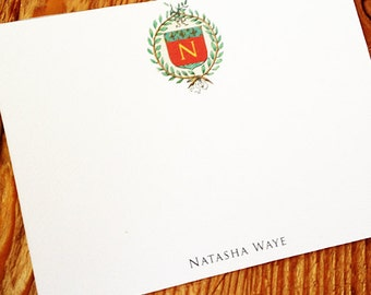 Single Monogram Stationery with Napoleon Wreath, Small Flat Note, Set of 15