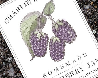 Classic Blackberry  Canning Label, Sticker, or Canning Tag, set of 18
