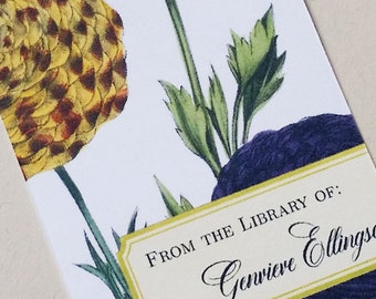 Flower Bookplate, Floral From the Library of, Personalized, Set of 24