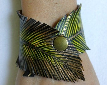 Feather Cut Cuff, Yellow Gold Feather Bracelet Faux Leather Hand Painted, Vegan Jewelry, Gifts for Her