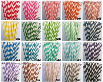 50 PAPER STRAWS, Pick Your Color Straws (76 Designs for choosing), Paper Straw Drinking Straw