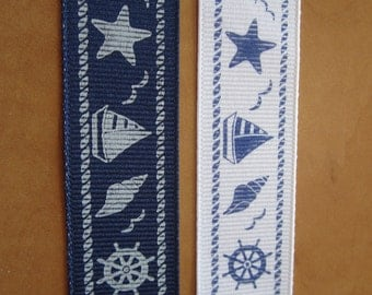 "Nautical Print Grosgrain Ribbon : 7/8"" wide - 5 yards"