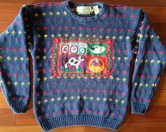 80s Farm Animal Knit Sweater - Size Medium